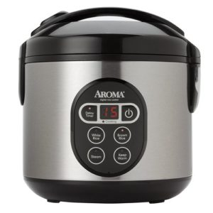 Aroma Housewares 8-Cup Digital Cool-Touch Rice Cooker and Food Steamer with Stainless Steel, Silver