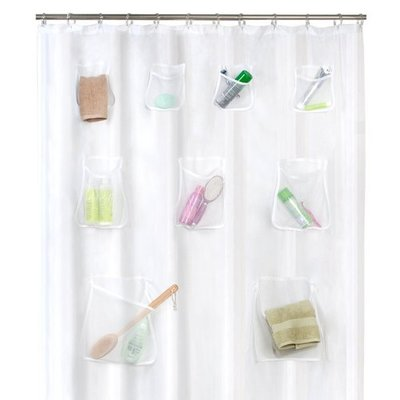 Maytext Mesh Pockets PEVA Clear Shower Curtain