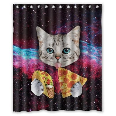 Custom Space Nebula Universe Cat Eating Pizza Shower Curtain