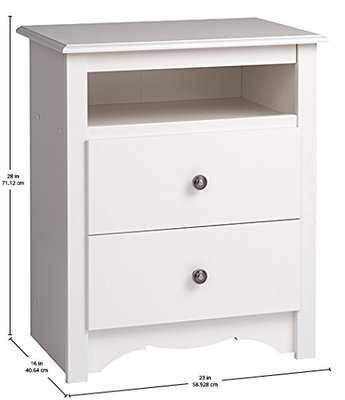 Prepac White Monterey Tall 2 Drawer Nightstands with Open Shelf