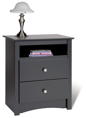 Black Sonoma Tall 2 Drawer Nightstands with Open Shelf