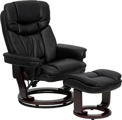 Flash Furniture BT-7821-BK-GG Contemporary Black Leather Recliner/Ottoman with Swiveling Mahogany Wood Base