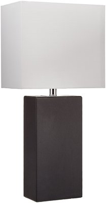 Elegant Designs Modern Genuine Leather Table Lamp