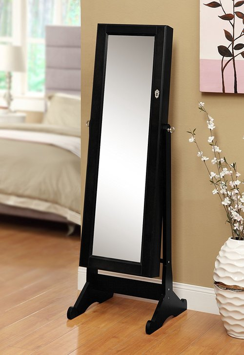 Black Mirrored Jewelry Cabinet Amoire Floor Mirror