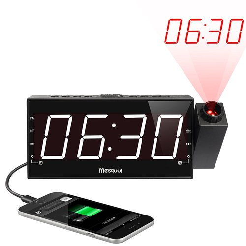 Mesqool AM/FM Digital Dimmable Projection Alarm Clock