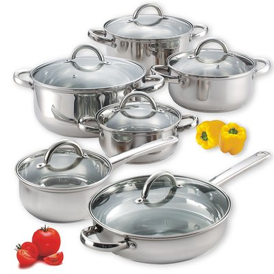 Cook N Home Stainless Steel Set, 12 Pieces