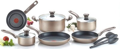 T-fal Metallics Thermo-Spot Cookware Set, 12 Pieces