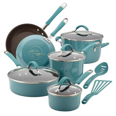 Rachael Ray Cucina Hard Porcelain Cookware Set, 12 Pieces