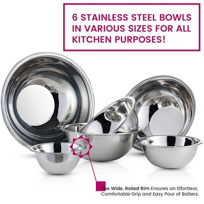 Finedine Stainless Steel Mixing Bowl Set, 6 Pieces