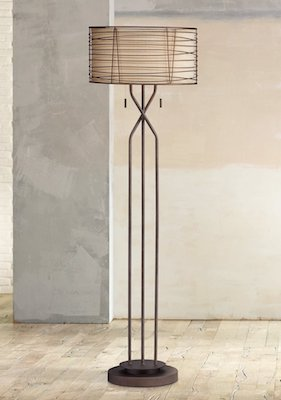 Marlowe Woven Bronze Metal Floor Lamp
