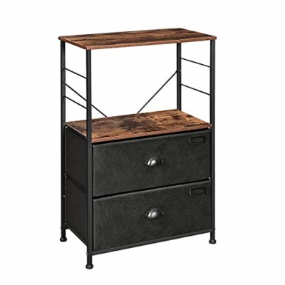 SONGMICS Nightstand with two fabric drawers
