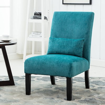 Roundhill Furniture Pisano Teal Blue Fabric