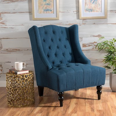 Clarice Tall Wingback Fabric Accent Chair