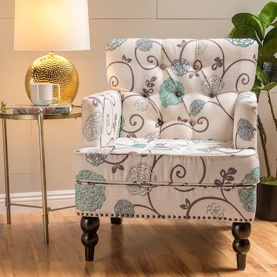 Medford Floral Fabric Club Chair