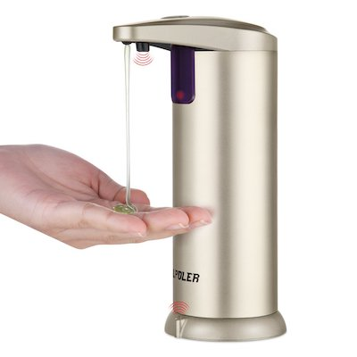 LPOLER Soap Dispensers, 280ML Automatic Touchless Stainless Steel
