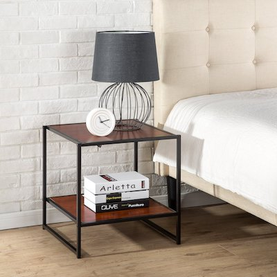 Zinus Modern Studio Collection Square Side / End Table / NightStand / Bedside Table