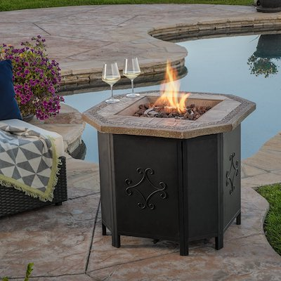 Great Deal Furniture Myrtle Outdoor 30-inch Octagonal Propane Fire Pit