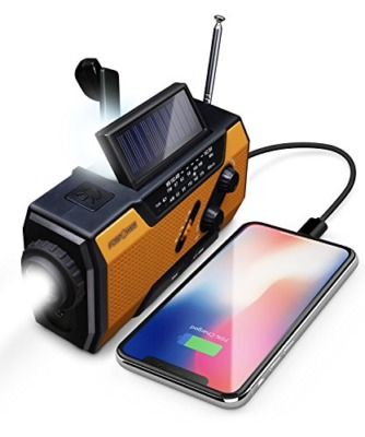 FosPower Solar Hand Crank Portable Radio and Chargers