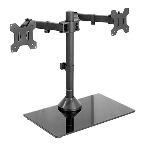 Freestanding Dual Monitor Stand With Glass Base by VIVO
