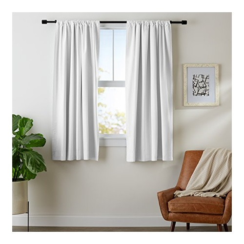 White Blackout Curtain Set by AmazonBasics