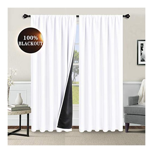 100% White Blackout Curtain by WONTEX