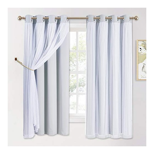 Long White Blackout Curtain by PONY DANCE